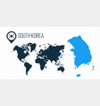 south korea map located on a world map with flag vector image vector image