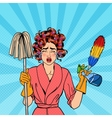 Stressed Housewife with Mop Pop Art vector image vector image