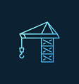 tower crane blue linear icon on dark vector image