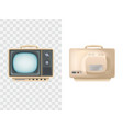 vintage tv set front rear vector image