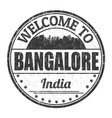 welcome to bangalore sign or stamp vector image vector image