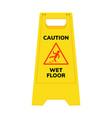 wet floor sign safety yellow slippery floor vector image vector image