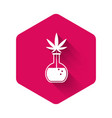 white chemical test tube with marijuana or vector image vector image