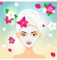 young woman with towel and cosmetic facial mask vector image