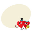 two hearts bride and groom holding hands making vector image