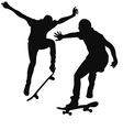 Silhouette of a young man skateboarding vector image
