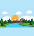 a flat nature landscape vector image vector image