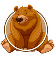 a grizzly bear circle sticker vector image vector image