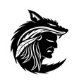 american indian in wolf skin vector image vector image