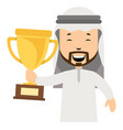 arab with trophy on white background vector image vector image