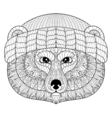 Bear face in zentangle doodle style Hand drawn vector image