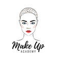 beautiful woman make up academy or school logo vector image