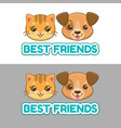 best friends label cute cat and dog faces vector image
