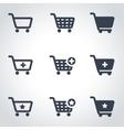 black shopping cart icon set vector image vector image