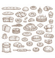 bread pastry isolated sketch icons bakery food vector image vector image