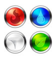 button of four natural elements vector image vector image