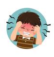 cartoon boy having headache vector image