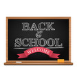 chalk on a blackboard welcome back to school vector image vector image