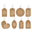 christmas labels tags collection with vector image