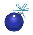 christmas toy in form a blue glass ball vector image vector image