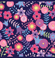 colourful spring flowers on dark blue backgroun vector image