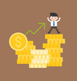 cute business man stand on stack of gold coin vector image vector image