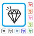 diamond crystal framed icon vector image vector image