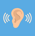 ear listen icon on blue background ear vector image vector image
