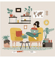 female freelancer is sitting in armchair vector image
