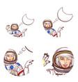 girl spaceman speech bubble avatar icon vector image vector image