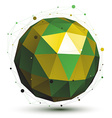 Gold and green abstract 3D network object art vector image vector image