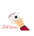 hand with playing cards full house tens vector image vector image