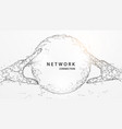 hands touching digital global form lines vector image vector image