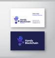 handy blockchain technology abstract logo vector image