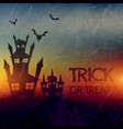 haunted halloween castle with bats vector image vector image