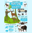 hunting sport hunter ammo and hunt animals trophy vector image vector image