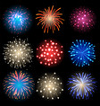 icon set - isolated fireworks on black background vector image
