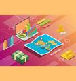 incheon city isometric financial economy condition vector image vector image