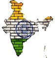 India map on a brick wall vector image vector image