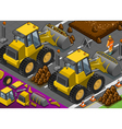 isometric yellow bulldozer in rear view vector image
