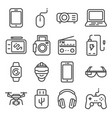Line devices and gadgets icons set