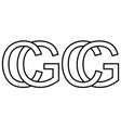 logo sign gc cg icon sign two interlaced letters g vector image vector image