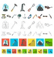 mountaineering and climbing cartoon icons in set vector image