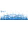 outline berlin germany skyline with blue buildings vector image