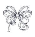 ribbon bow black hand drawn sketch vector image vector image