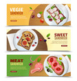 sandwiches advertising horizontal banners vector image
