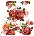 seamless background or pattern with rose flowers vector image vector image