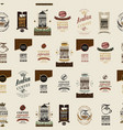 seamless pattern with colored coffee labels vector image vector image