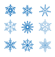 set blue snowflakes vector image