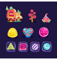 set colorful mobile game assets glossy vector image vector image